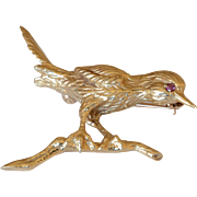 14K Yellow Gold Red Ruby Hummingbird Brooch