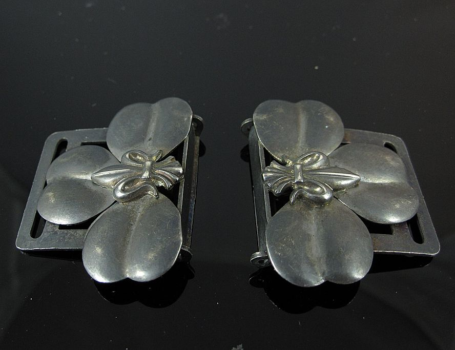 Pair of Antique Sterling Silver Belt Garter Buckles