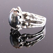 Sterling Silver Ring w Metallic Black Stone