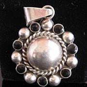 Vintage Taxco Sterling Silver Pendant Black Enamel