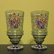 Fantastic Pair of Two Antique Glass Cups / Beaker Hand Painted
