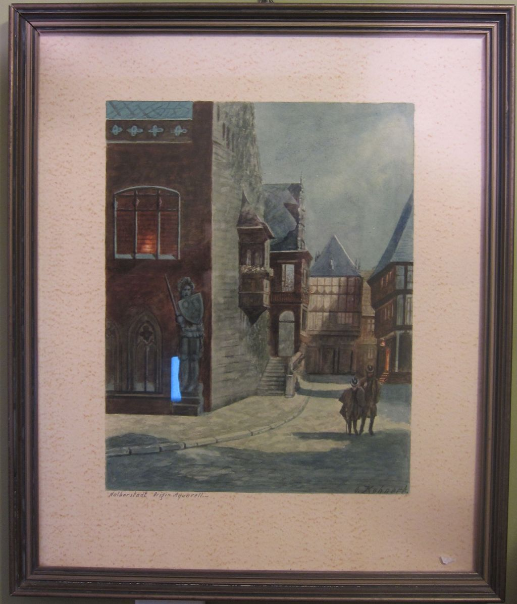 Watercolor Painting Halberstadt by Kuhnert
