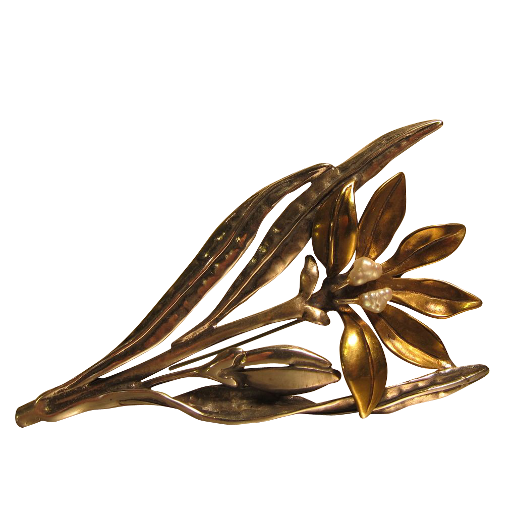 Modern Flower Brooch / Pin Sterling Silver & 10k Yellow Gold