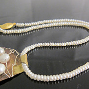 Vintage Modern Design Pear Pendant and Cultured Pearls Necklace