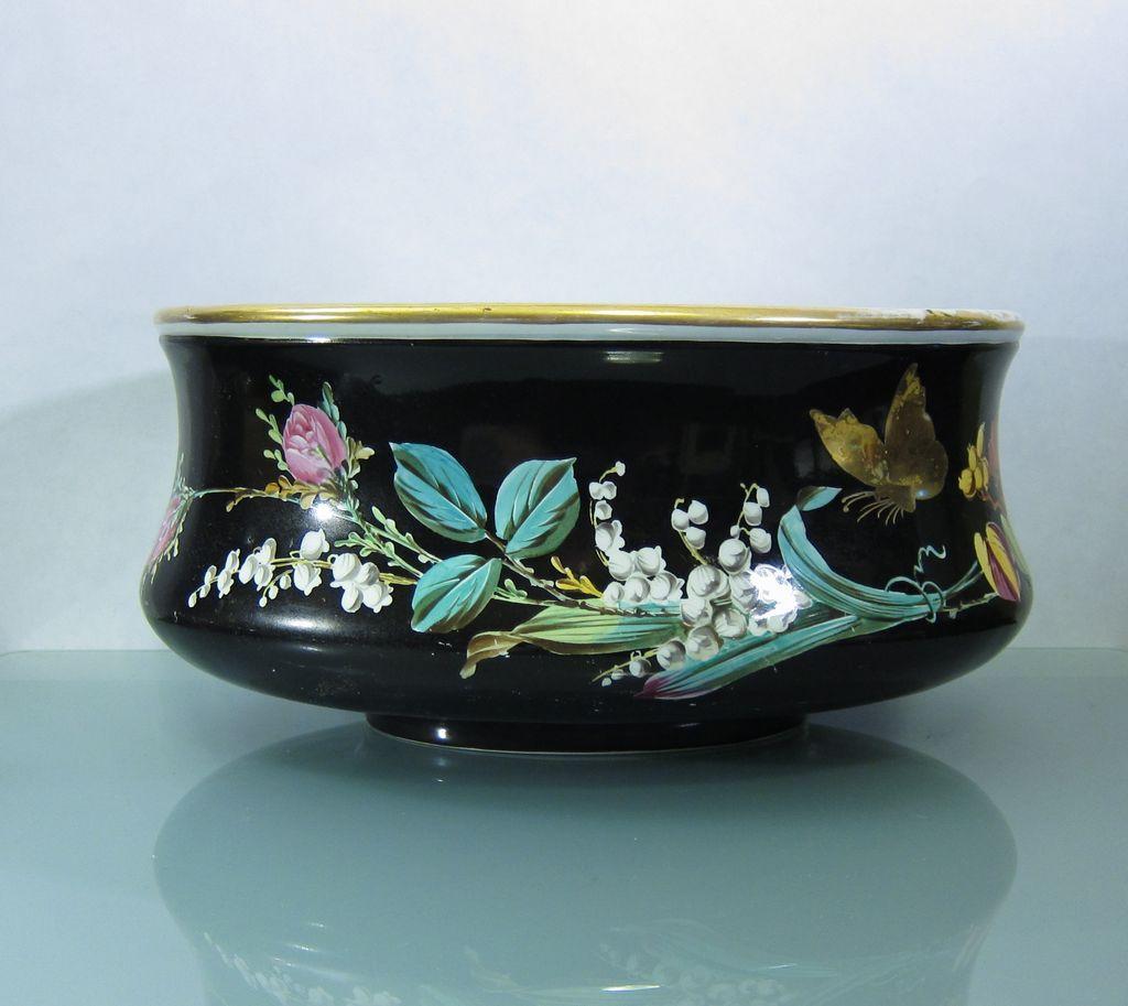 Antique Hand Painted KPM Porcelain Cachepot Jardiniere Germany
