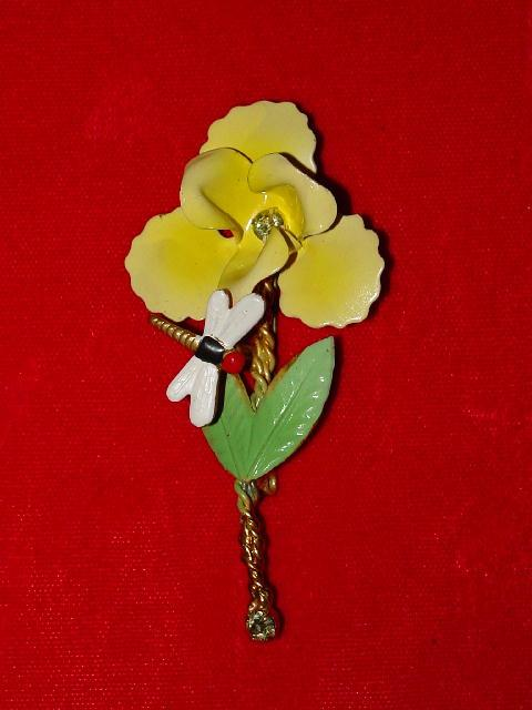 Vintage Austrian Trembler Pin - Enamel Flower and Dragonfly