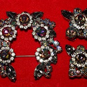 Stunning Vintage Large Watermelon Brooch and Earrings - Juliana