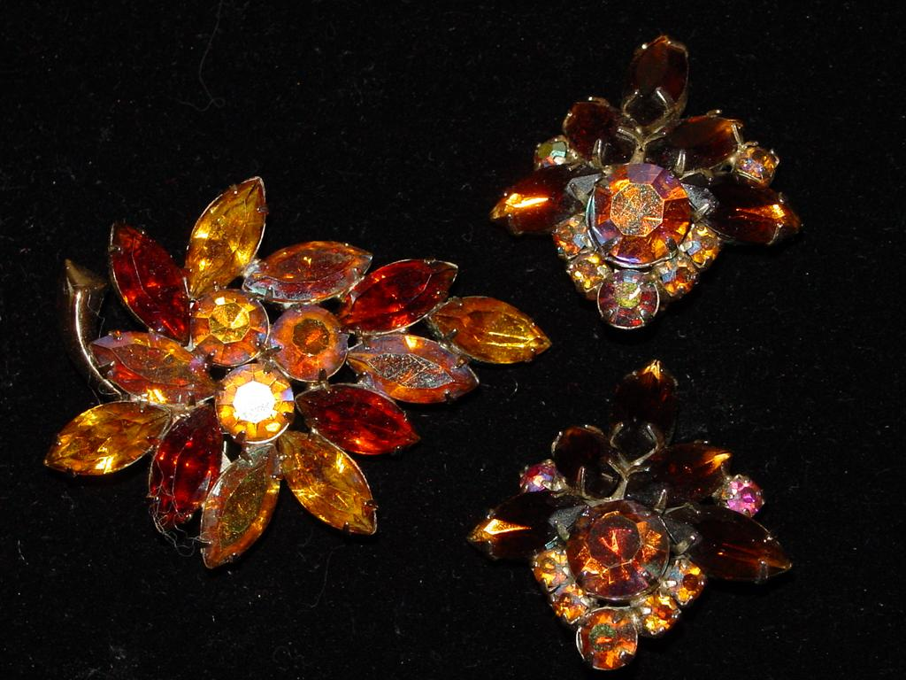 Great Juliana Topaz Demi Parure - Earrings and Brooch