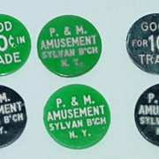 Six Sylvan Beach New York Tokens - Green and Black