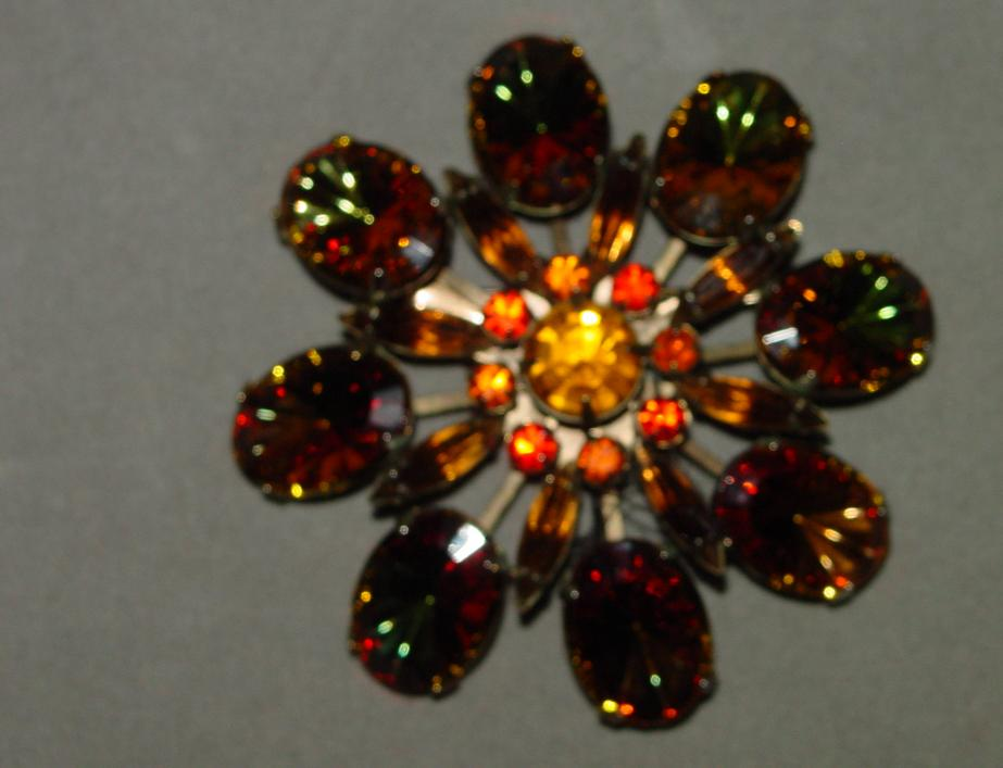 Vintage Brooch with Large Multicolor Rhinestones