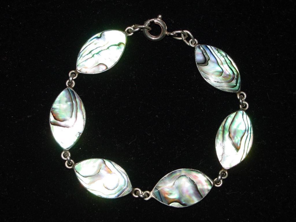 Beautiful Sterling Silver and Abalone Bracelet