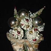 Vintage Christmas Corsage - Bottle Brush Trees