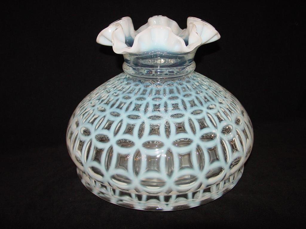 Fenton French Opalescent Double Wedding Ring Optic Vase