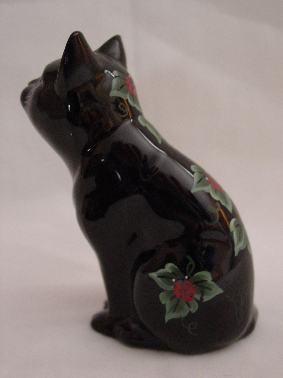 Fenton Handpainted Black Glass Cat with Ladybugs