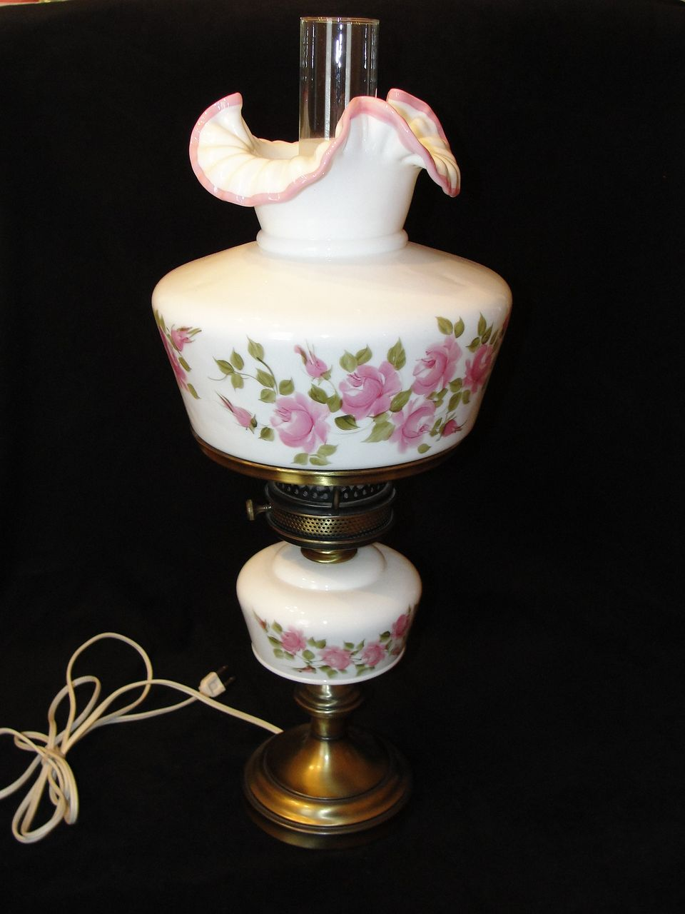Rare Fenton Roses on Apple Blossom Crested Lamp