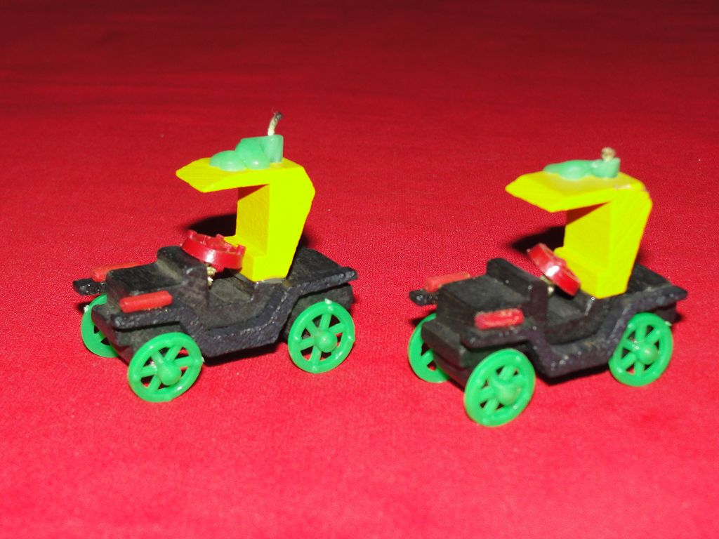 Charming Pair of Vintage Car Birthday Candle Holders - Japan