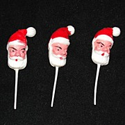 Three Vintage Santa Claus Cupcake Picks