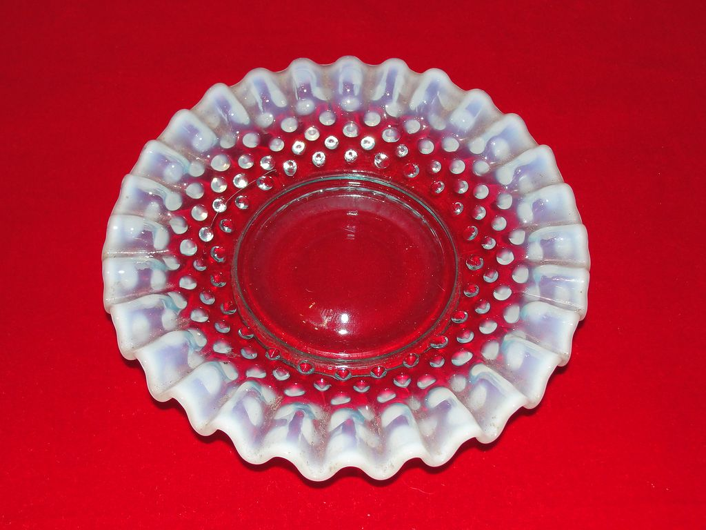 Fenton Art Glass Small Blue Opalescent Hobnail Dish