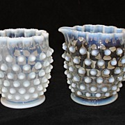 Antique Opalescent Hobnail Glass Sugar and Creamer