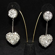Funky Pair of Silver Sequin and Bead Heart Dangle Earrings