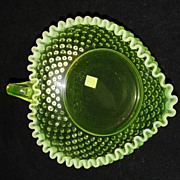 Fenton Topaz Opalescent Hobnail Heart Nappy - Vaseline Glass