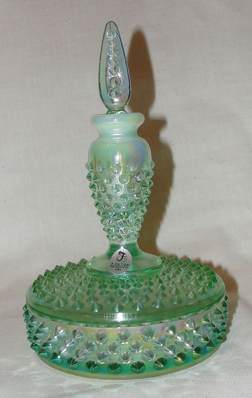 Fenton Iridized Green Opalescent Hobnail Glass Boxtle From