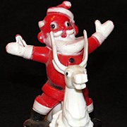 Vintage Plastic Santa on a White Reindeer Candy Container