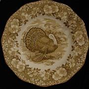 Wedgwood Brown Turkey with Floral Rim Dinner Plate