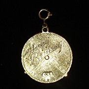 Vintage Mechanical Birthday Calendar Charm - Goldtone