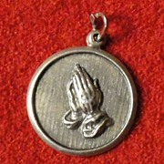 Vintage Beau Sterling Praying Hands Charm with Serenity Prayer