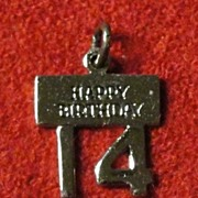Vintage Sterling silver Happy Fourteenth Birthday Charm by Wells