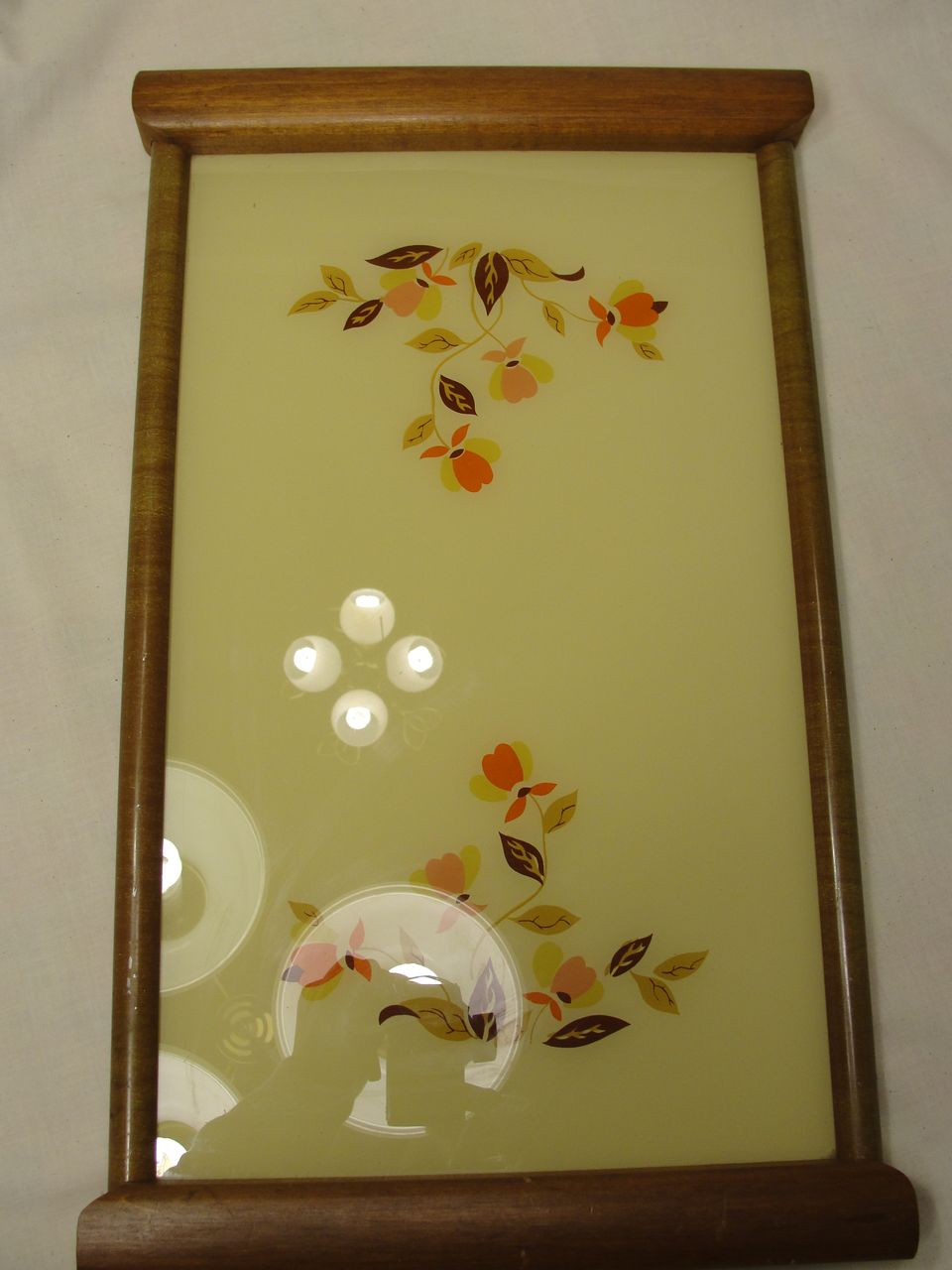 Hall Autumn Leaf Wood and Glass Tray