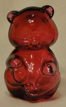Fenton Hollow Cranberry Glass Hand Blown Bear