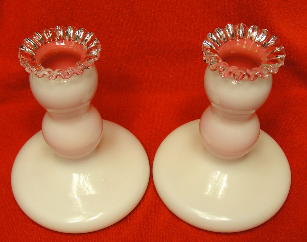 Fenton Pair of Silver Crested Peach Blow Candlesticks