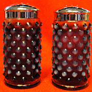 Fenton Plum Opalescent Hobnail Glass Salt and Pepper Shakers