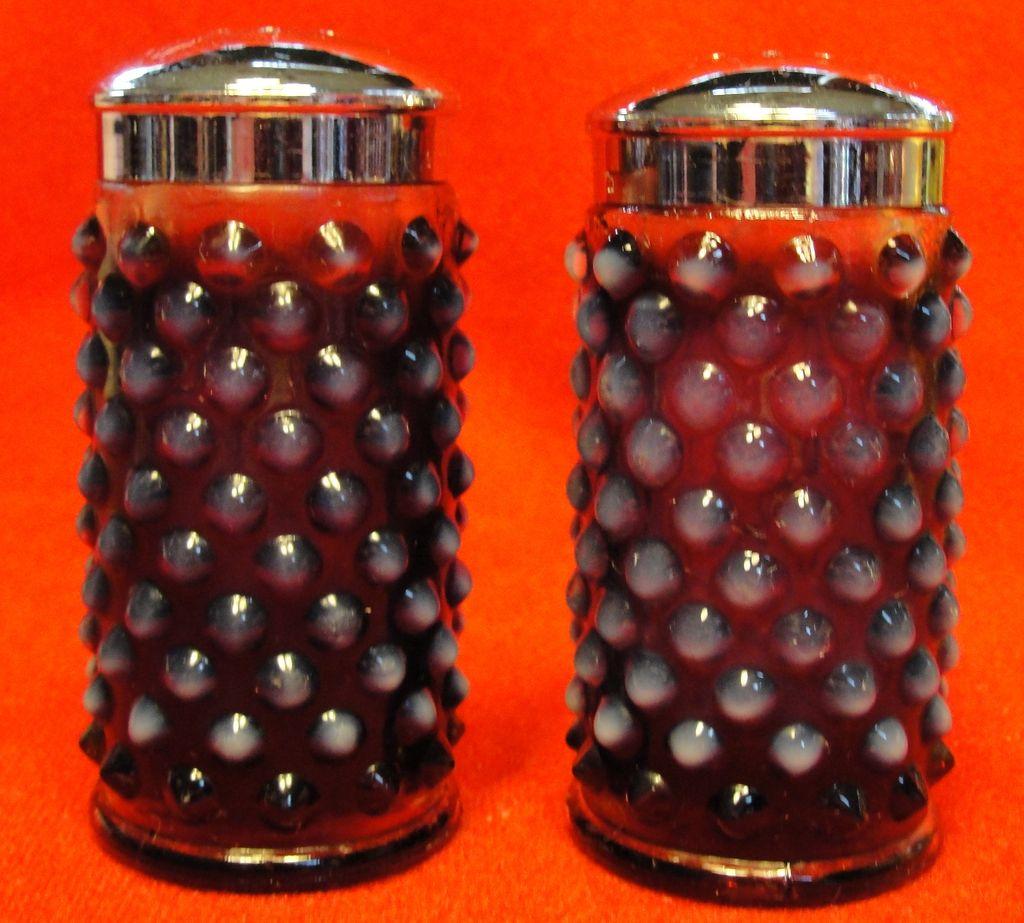 Fenton Plum Opalescent Hobnail Glass Salt and Pepper Shakers