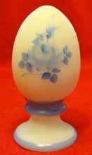 Fenton Blue Roses on Custard Glass Handpainted Egg Louise Piper