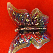 Handpainted Plum Opalescent Fenton Glass Butterfly Martha Reynolds