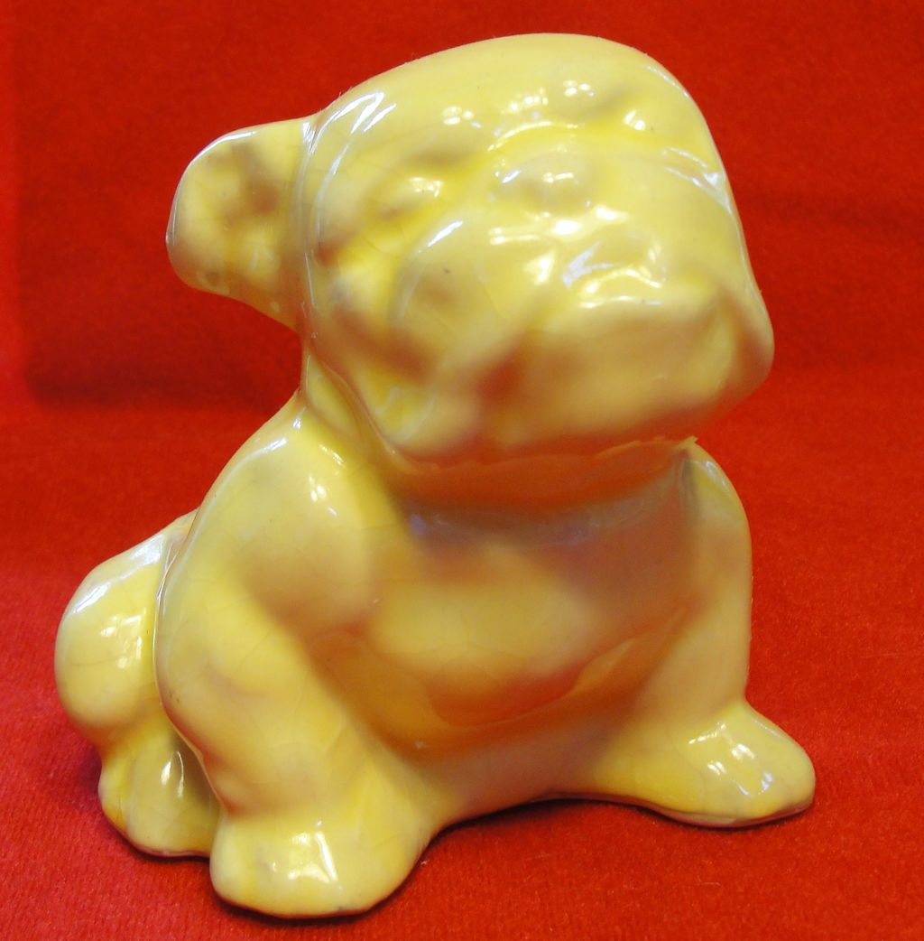 Vintage Morton Pottery Yellow English Bulldog Planter