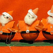 Five Vintage Spun Cotton and Chenille Santa Ornaments
