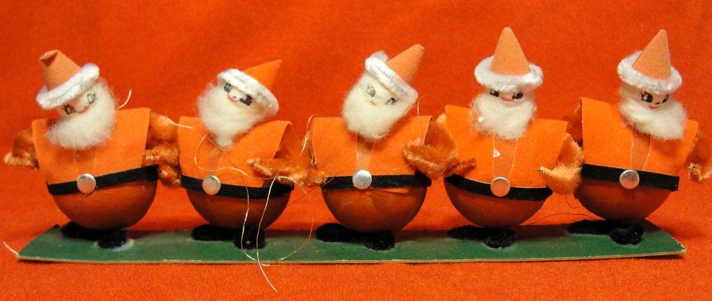 Five Vintage Spun Cotton and Chenille Santa Ornaments