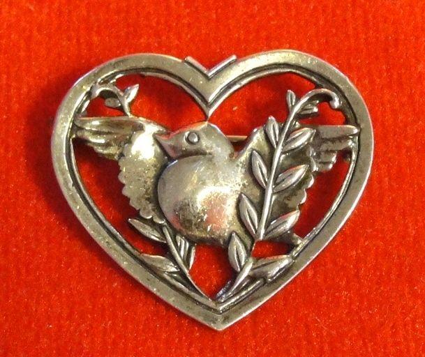 Coro Pegasus 1941 Sterling Silver Bird in Heart Pin