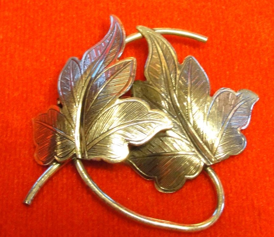 Vintage Sterling Silver Beau Ivy Leaf Brooch Pin