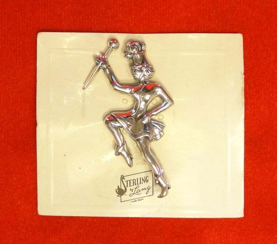 New Old Stock Lang Sterling Majorette Pin on Original Card