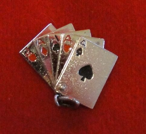 Great Poker Hand Mechanical Sterling Silver Charm - Four Aces