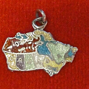 Vintage Sterling Silver Map of Canada Enamel Charm Rare