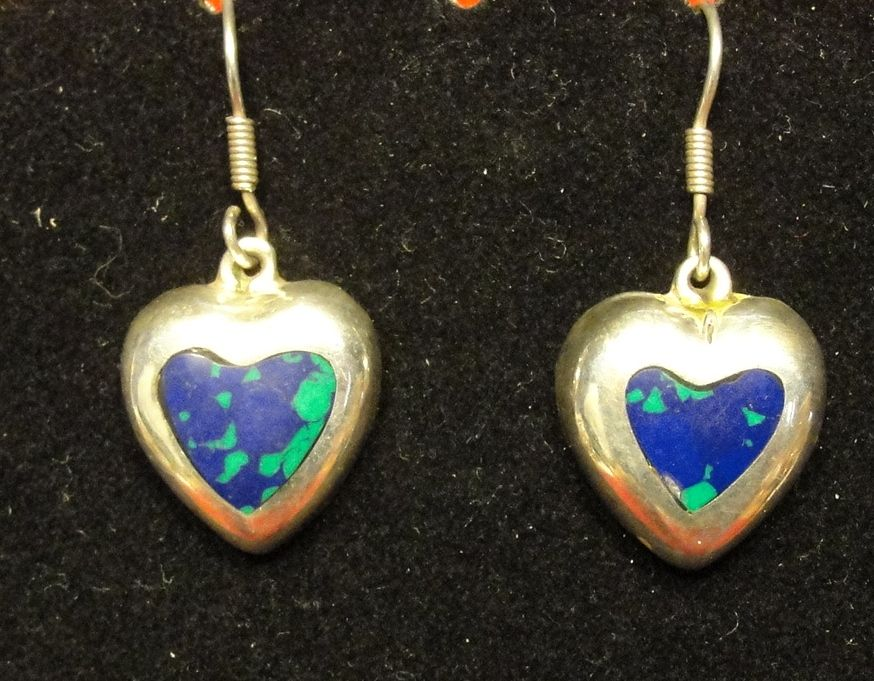 Vintage Sterling Silver Heart Dangle Earrings - Mexico