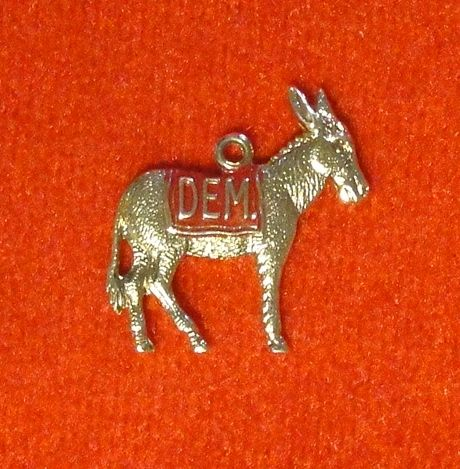 Donkey Democrat Vintage Gold Wash over Silver  Charm