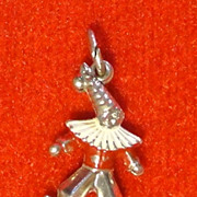 Vintage Sterling Silver and Enamel Clown Charm with Dunce Cap