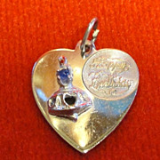 Vintage Happy Birthday Heart Shaped Sterling Charm with Cake and Candle